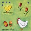 Œufs de Pâques avec poussins