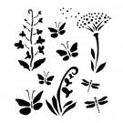 Pochoir - Fleurs Sauvages et Papillons