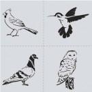 Pochoir - Oiseaux branchés