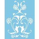 Pochoir - Volutes florale
